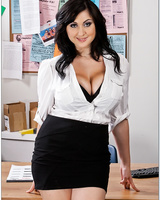 Nasty office MILF Beverly Paige stripping and squeezing her melons