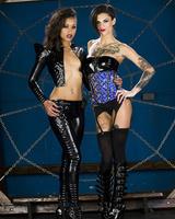 Black and white lesbians Skin Diamond & Bonnie Rotten model in fetish attire