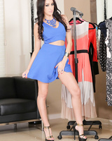Before trying on new a dress Breanne Benson playfully strips to the naked