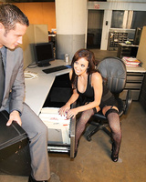 Horny boss lady Breanne Benson seduces one of her male employees at work