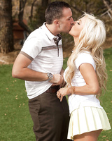 Outdoor blowjob done by an wonderful blonde beauty Cameron Dee
