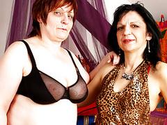 Mature lesbian BBW sluts go mad with huge dildos