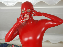 Sexy fetish whore Jana in red spandex posing on cam