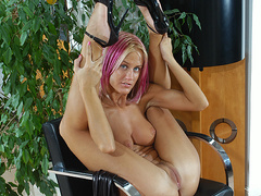 Kinky beauty Cynthia strips and shows off hot pussy