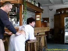 Mature whore riding huge hard cock in the kitchen