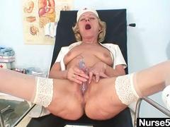 Dirty old nurse masturbates