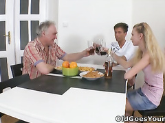 Nasty bonde babe Rosy lets mature cock fuck her