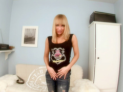 Awesome teen babe Melita tries out her best toys