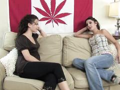 Lesbian brunette hotties make their pussies squirt