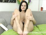 Lovely MILF Jana teasing her furry pussy till cum