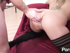 Hot MILF gets pussy and ass deep explored by gyno