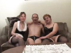 Horny grannies in stockings sharing huge hard cock