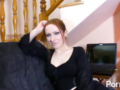 Sexy redhead French hottie double fucked on x-mas