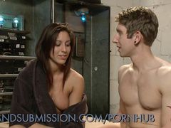 Horny roped babe gets hardcore fucked in wet pussy