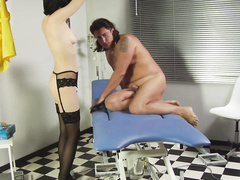 Sexy domina slut explores tight male ass with toy