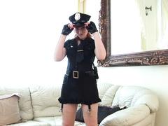 Kinky police whore toy fucking her twat upskirt