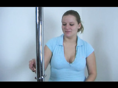 Booty slut handcuffed to the pole for masturbation
