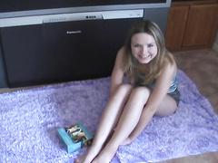 Nice teen girl strips and masturbates her big ass