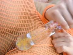 Kinky slut Chloe James toys pussy through fishnet