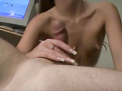 Nice small tit babe Joselyn Pink blowing huge dick