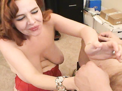 Dirty office whore gets deep throat fucked at work