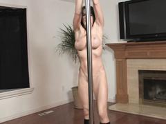 Impressive stripper satisfies her pussy on the floor