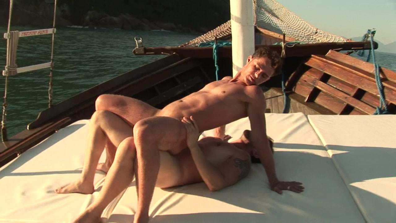 Passionate anal banging on the boat by gallant men