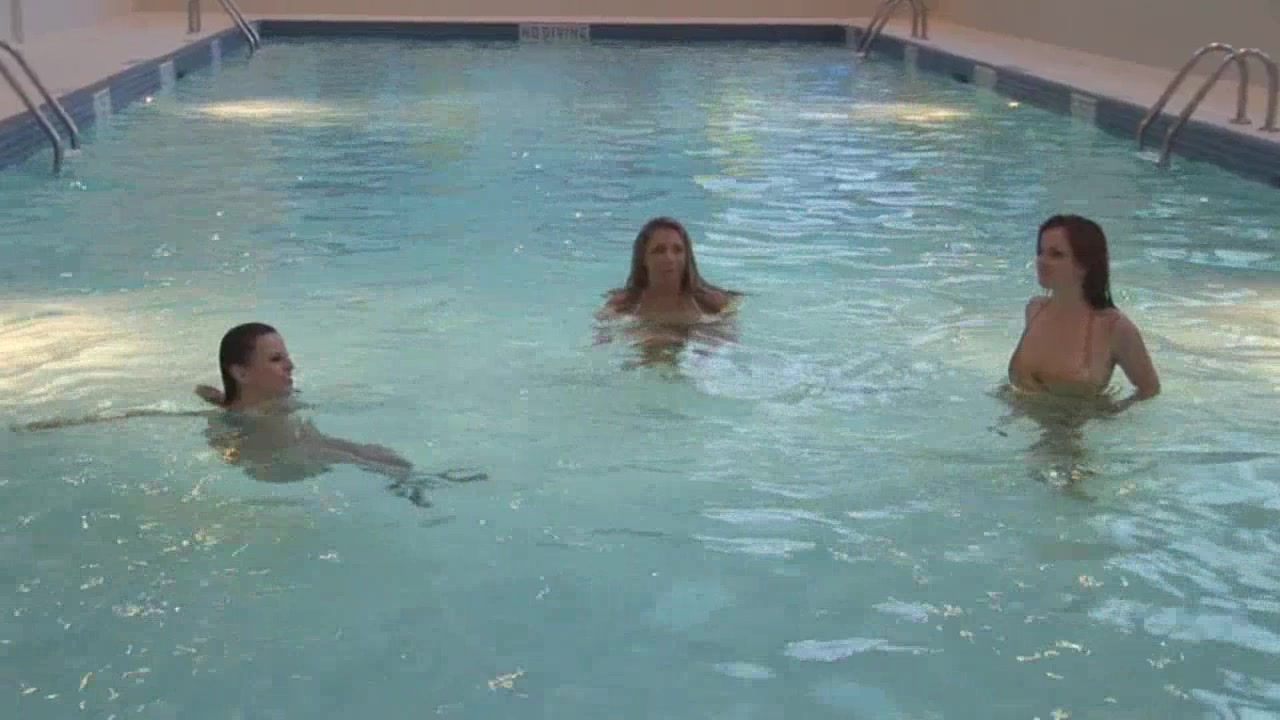 Three best friends show their cool bodies in the pool