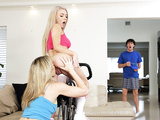 Naked Cory Chase was working out with a cute neighbor