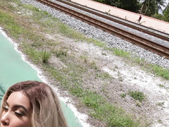 Crazy Aaliyah Hadid gives a head off by the train tracks