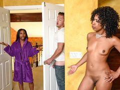 Insatiable black woman Misty Stone gives her twat to young white guy
