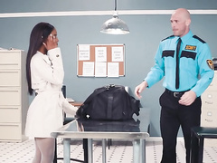 Black lovely Sarah Banks in white lingerie passes customs control