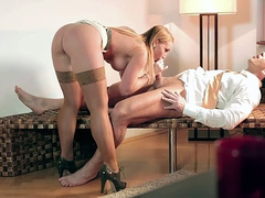 Well-rounded lady Kathia Nobili on high heels rides gentleman's dick