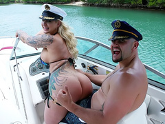 Natural blonde mom Ryan Conner sucks off a long cock on a boat