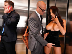 His sexy busty wife Autumn Falls got fucked in the elevator while he was looking for help