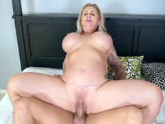 Excited woman Ryan Conner rides manhood of lover like pro cowgirl