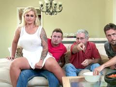 Naughty MILF Ryan Conner secretly rides stepson's dick in living room