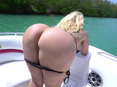 Brave blonde Ryan Conner teases cameraman with her round butt cheeks