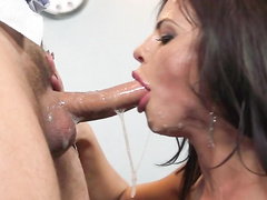 Adriana Chechik can't resist giving deepthroat blowjob to her doctor