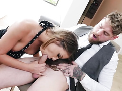Real man receives blowjob by excited mom Adriana Chechik in restaurant