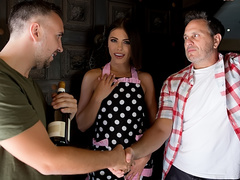 Materialistic female Adriana Chechik takes wine from loyal admirer next door