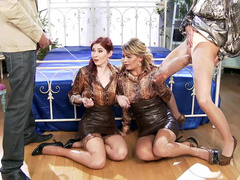Guy and blonde MILF pee on XXX redhead Kattie Gold and her friend
