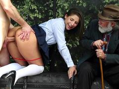 Old man watches slutty daughter Abella Danger having sex with stranger