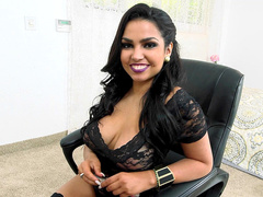 Smokin' hot Latina Ada Sanchez prepares herself for cheating on boyfriend