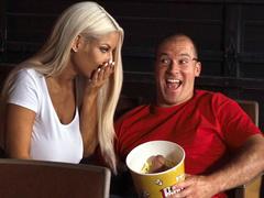 Excited mom Bridgette B touches cock that is hidden in popcorn bucket