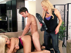 Security tech fucks busty client Bridgette B under control of Nikki Benz