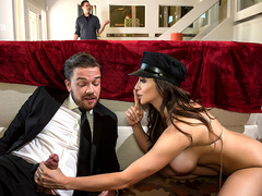 Driver is ready to penetrate busty Ariella Ferrera without being caught