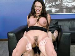 Unbeknownst to girlfriend guy thrust cock into anus of stepmom Ariella Ferrera