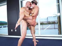Bald bruiser stretches comely partner Jada Stevens in extreme pose