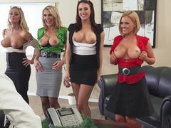 Chanel Preston and blonde moms show big tits making boss a present
